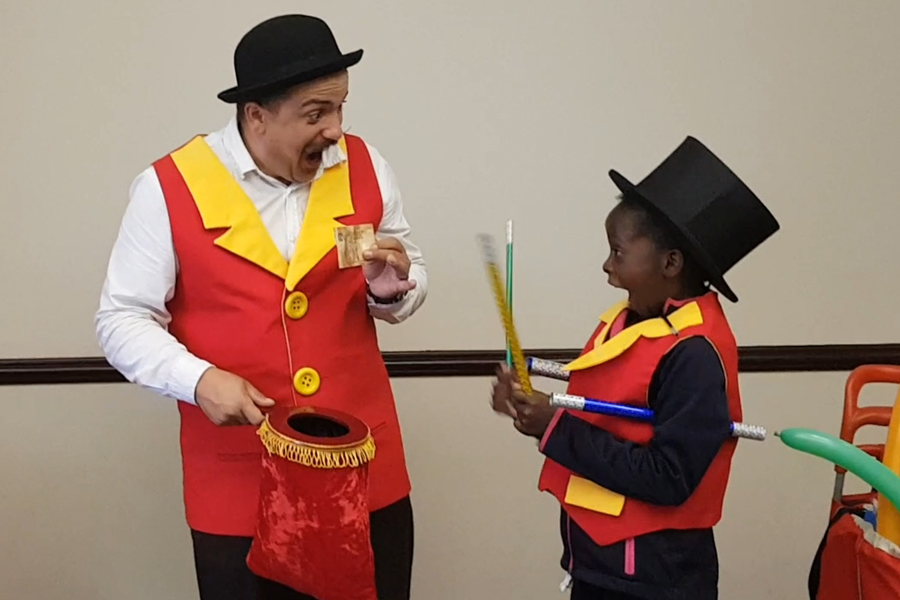 amazed child at a Wow Factory birthday magic show in Sandton, Randburg and Gauteng