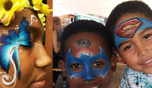 beautiful face painting on children by the Wow Factory