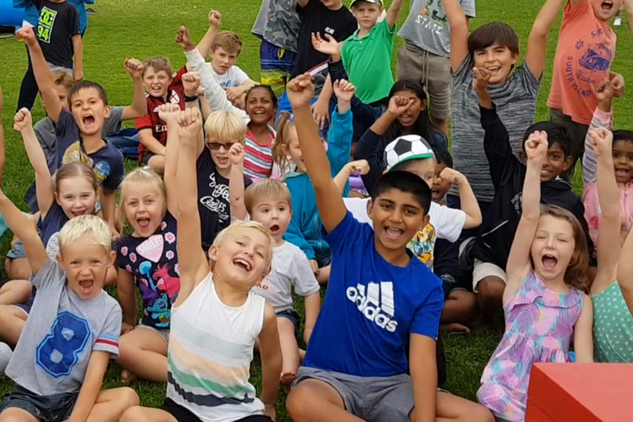 happy children at the Wow Factory magic show for festivals and fun days